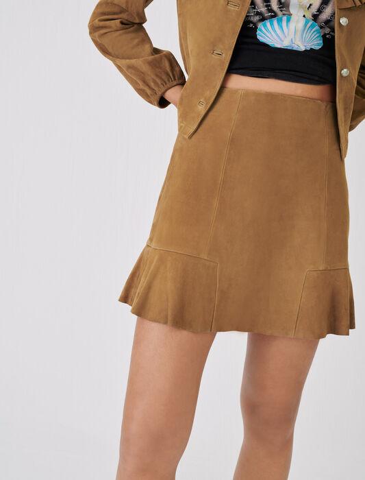 Geraffter Wildlederrock : Röcke & Shorts farbe Camel