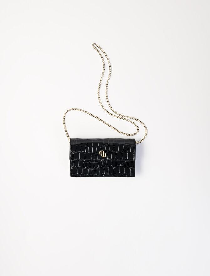 Kroko-Brieftasche mit Kette -  - MAJE