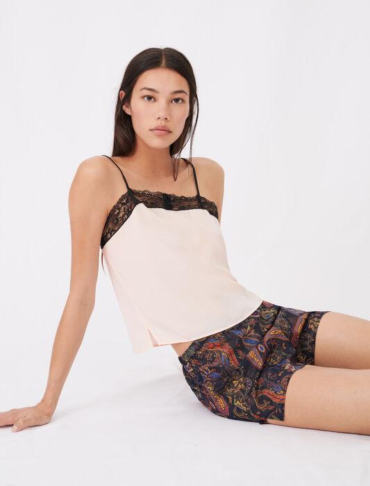 Set bedruckter Pyjama mit Spitze : Homewear farbe PECHE