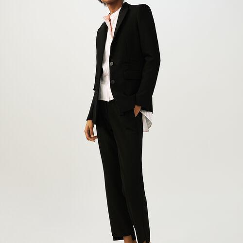 Krepp-Blazer : Blazers farbe Schwarz