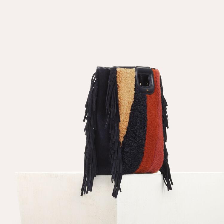 M-Tasche aus Shearling und Leder : Leder farbe Mehrfarbigen