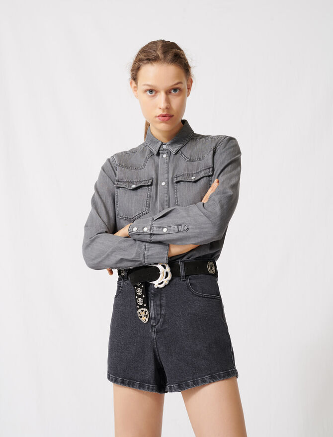 Jeans-Playsuit mit Trompe-l'œil-Effekt - Jumpshort & Jumpsuit - MAJE