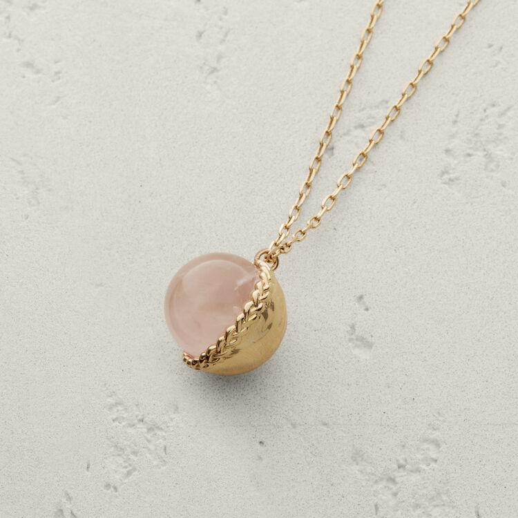 Halskette mit Natursteinkugel : Schmuck farbe Hellrosa