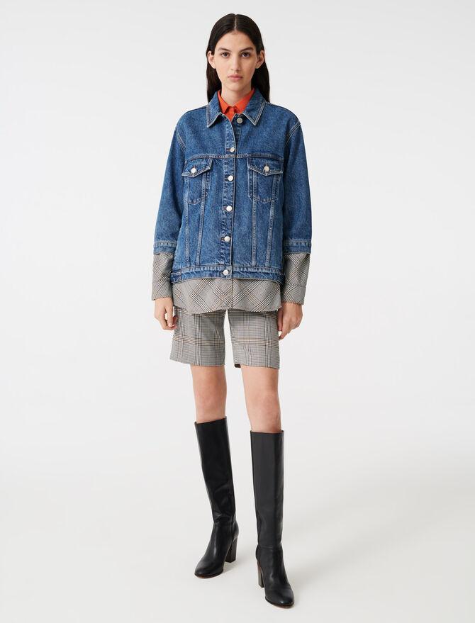 Jeansblouson mit Trompe-l'œil-Effekt - Mäntel & Jacken - MAJE
