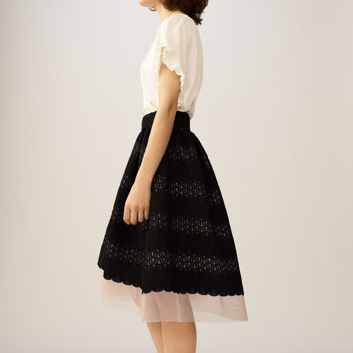 Midirock aus Basket-Strick und Tüll : Röcke & Shorts farbe Schwarz