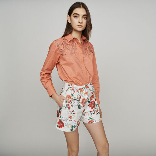 Jeans-Shorts mit Blumen-Print : Röcke & Shorts farbe IMPRIME