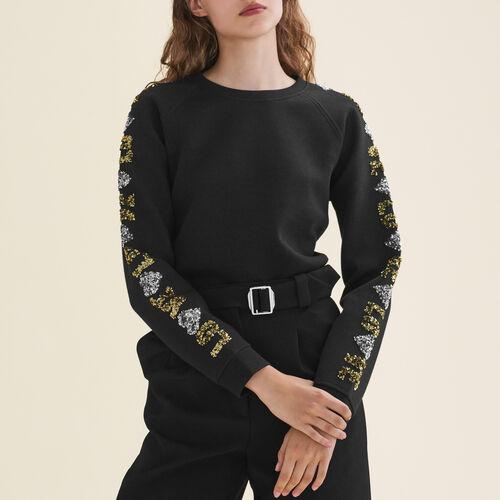 Sweatshirt mit Pailletten : T-shirts farbe Schwarz