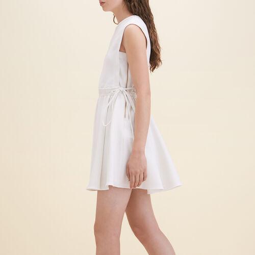 Ärmelloses Kleid aus Crêpe : Robes farbe Weiss
