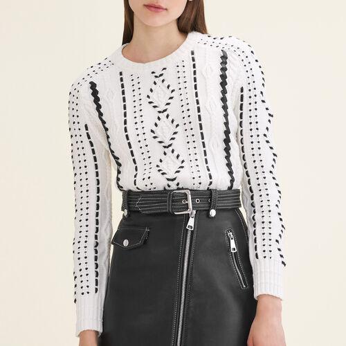 Pullover aus Zopfstrick : Strickwaren farbe Ecru