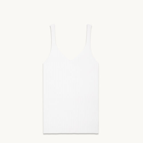 Ärmelloses T-Shirt aus Rippenstrick - null - MAJE