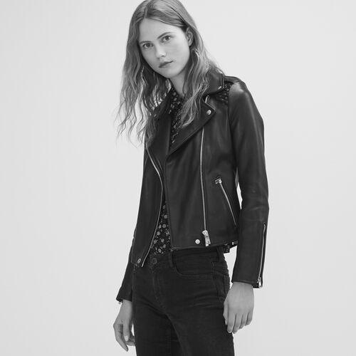 Lederblouson mit Flechtdetail : Jacken farbe Schwarz