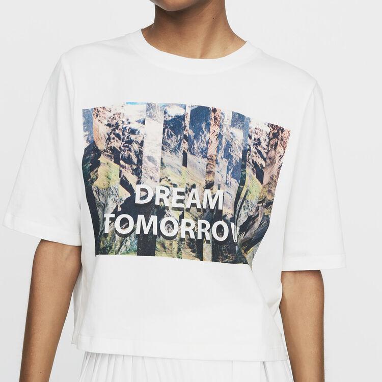 Kurzes T-Shirt mit Print : Bekleidung farbe Weiss