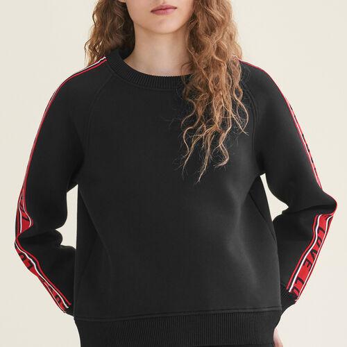 Sweatshirt aus Neopren mit Streifen - Strickwaren - MAJE