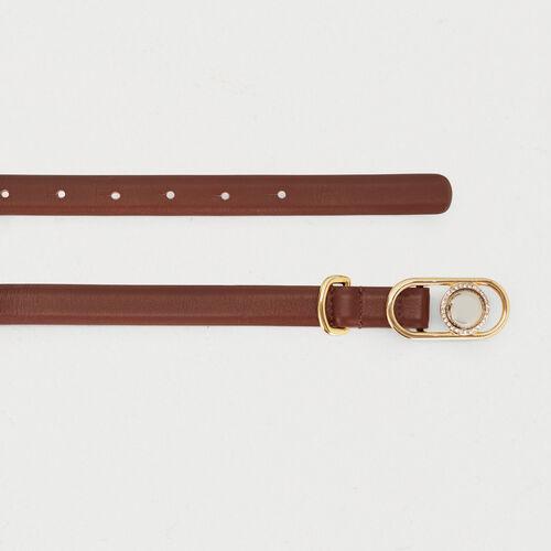 Ledergürtel mit Schmuckschnalle : Gürtel farbe Schwarz