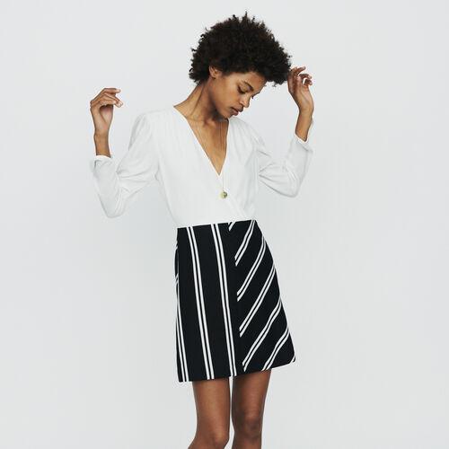 Gerades Kleid aus zwei Materialien : Kleider farbe  Off-White