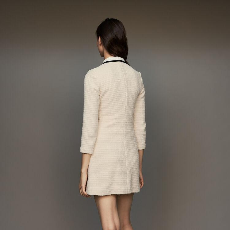 Kurzes Kleid mit Tweed-Effekt : Kleider farbe Ecru