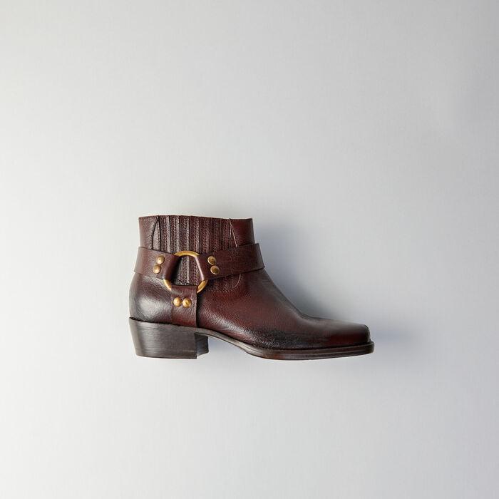 Leder Stiefelletten  mit eckiger Spitze : Stiefel & Boots farbe Braun