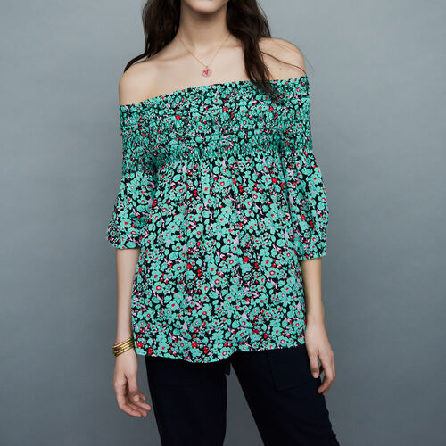 Top with smocked collar : Tops farbe IMPRIME
