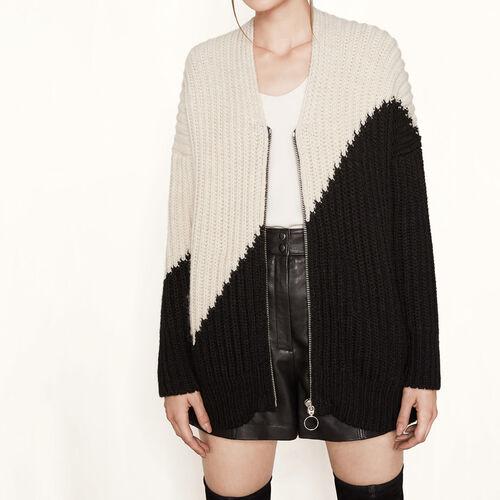 Weiter Cardigan aus zweifarbigem Strick : Pullover und Cardigans farbe Zweifarbig