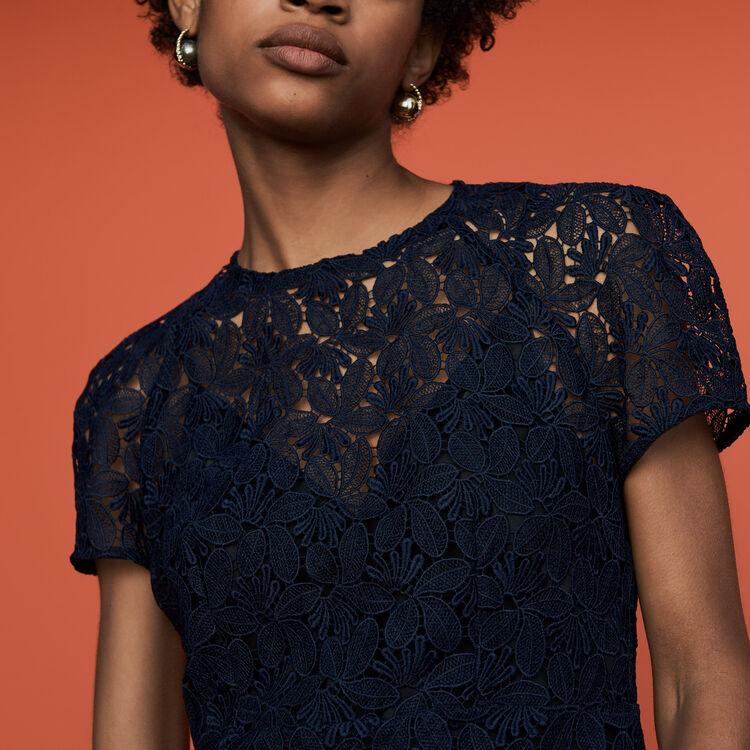 Gerades Kleid aus Spitze : Kleider farbe Marineblau