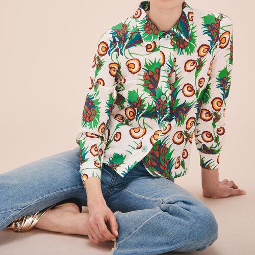 Bedrucktes Hemd aus Leinen und Seide - Tops - MAJE