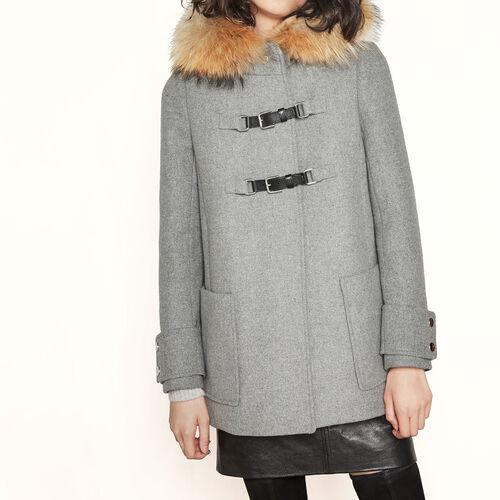 Trapezförmiger Mantel aus Wolle : Mäntel farbe Verspottetes Grau