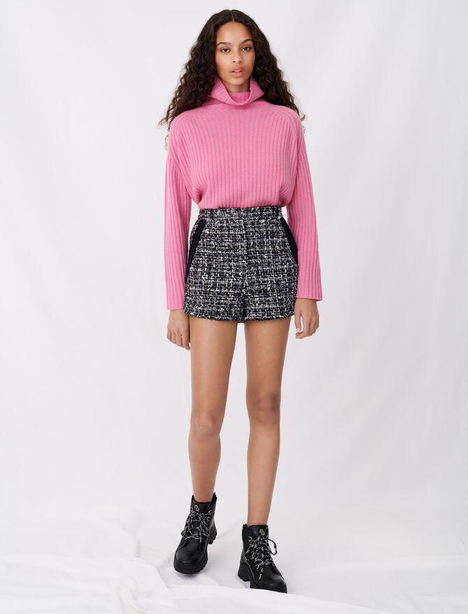 Shorts im Tweed-Stil mit Kontrastgalons - Röcke & Shorts - MAJE