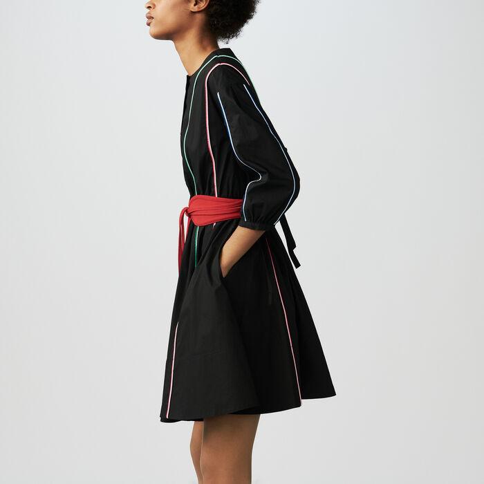 Baumwollkleid mit Paspel : Kleider farbe Schwarz
