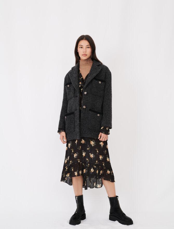 Mantel in Tweed-Optik mit Riegel - Mäntel & Jacken - MAJE