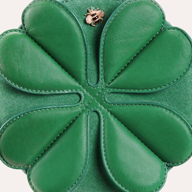 Runde Ledertasche mit Kleeblatt : Alles einsehen farbe Grün