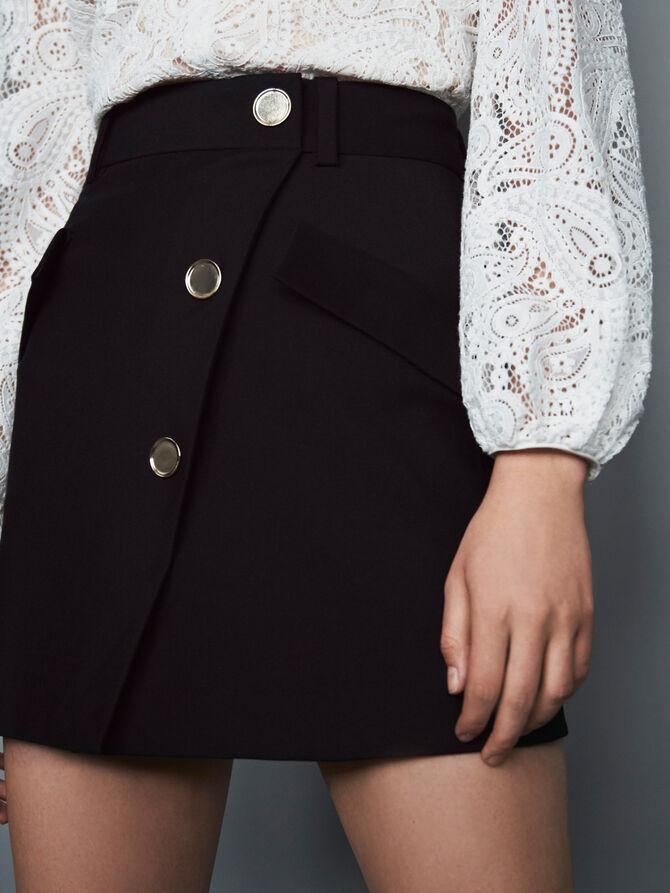 Krepp Rock mit konstrastierenden Knöpfen - Röcke & Shorts - MAJE