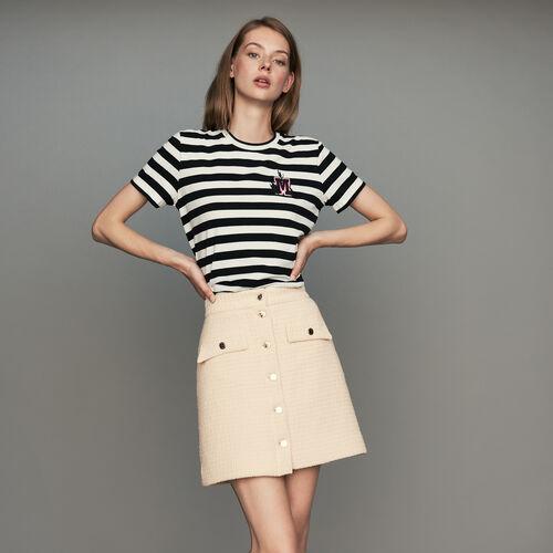 Trapezrock aus Tweed : Röcke & Shorts farbe Ecru