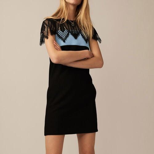Dreifarbiges Guipure-Kleid : Kleider farbe BLEU CIEL