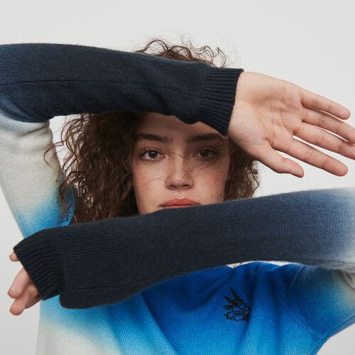 Degradierter bunter Pullover : Winter Kollektion farbe BLEU AZUR
