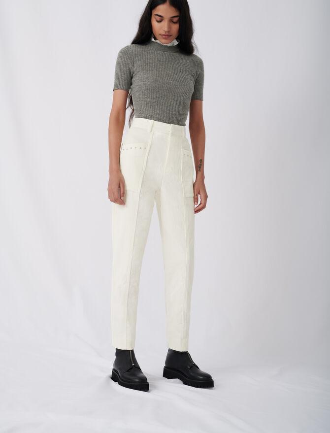 Hose aus Cordsamt mit Nieten - Hosen & Jeans - MAJE