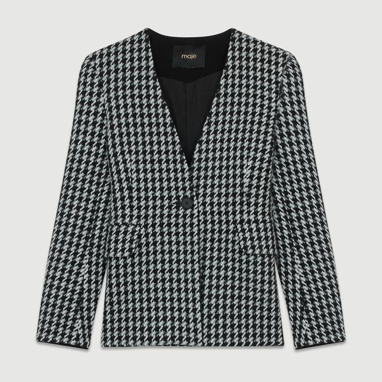 Jacke aus Wolle mit Hahnentrittmuster : Blazers farbe Jacquard