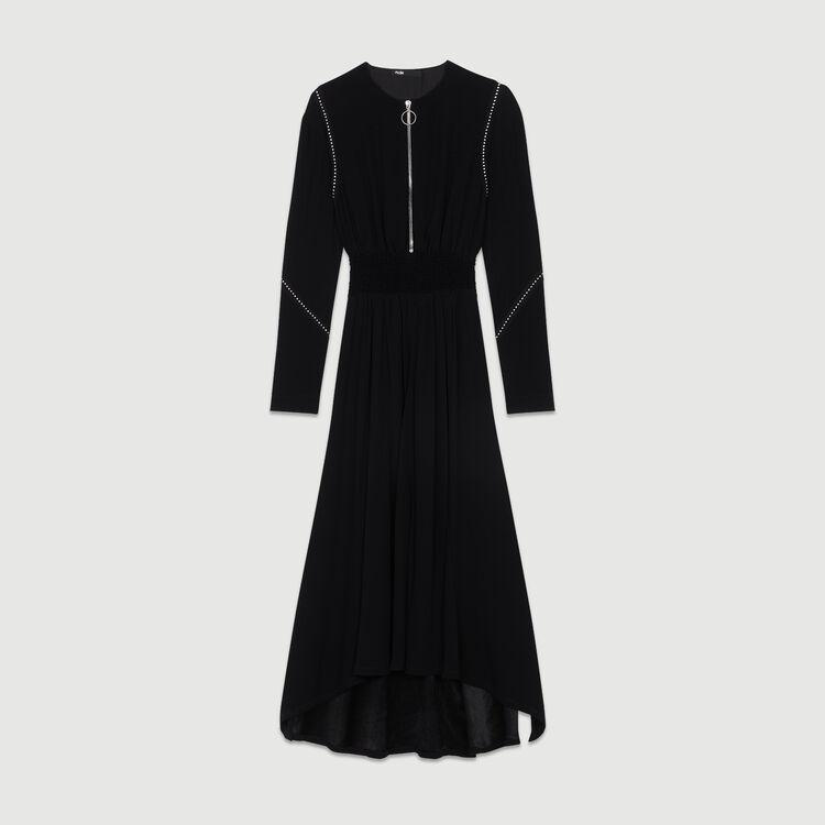 Long sleeve, studded dress : Kleider farbe Schwarz