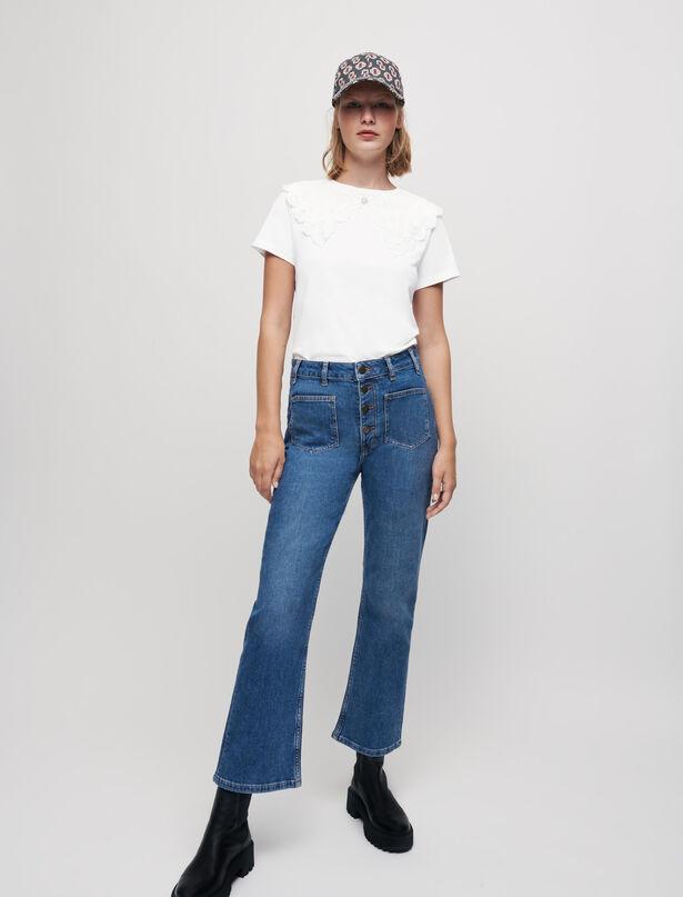 마쥬 반팔티 MAJE Jersey-T-Shirt mit weitem Ausschnitt,Ecru