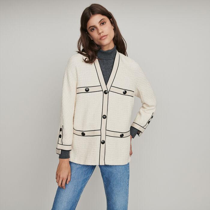 Jacke mit kontrastierenden Tweed : Blazers farbe Ecru