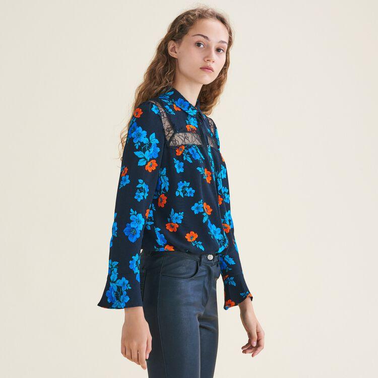 Camisa estampada con encaje : Tops farbe IMPRIME