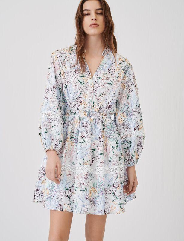 마쥬 원피스 MAJE Bedrucktes Guipure-Kleid mit Borten,Jungle Blanc