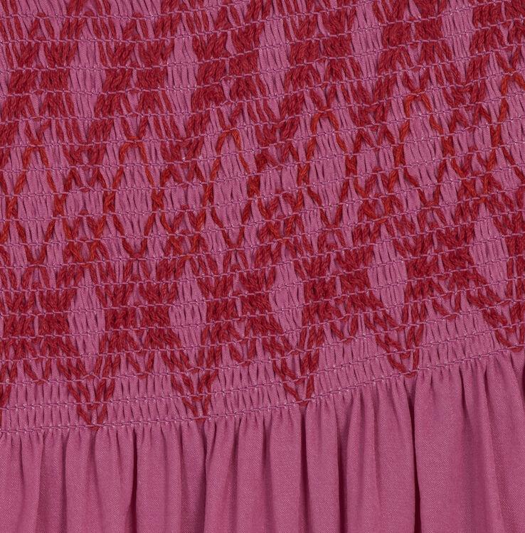 Schulterfreies Top mit Fältchennäherei : Tops farbe Fuchsiafarben