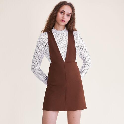 Kurzes Kleid mit Trägern : Kleider farbe Karamell