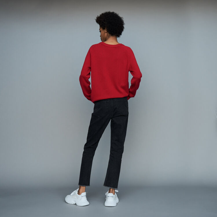 Gerade Jeans mit Stickereien : Jeans farbe Grau