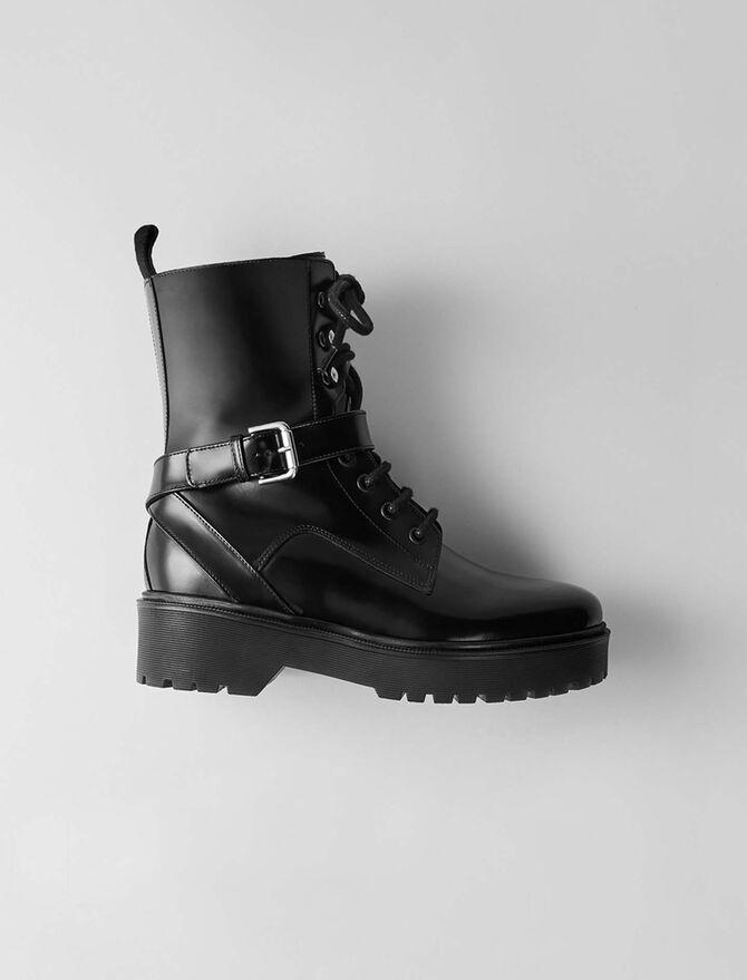 Glazed leather wedge booties -  - MAJE