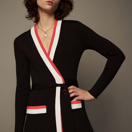 Long knitted wrap dress : Kleider farbe Schwarz