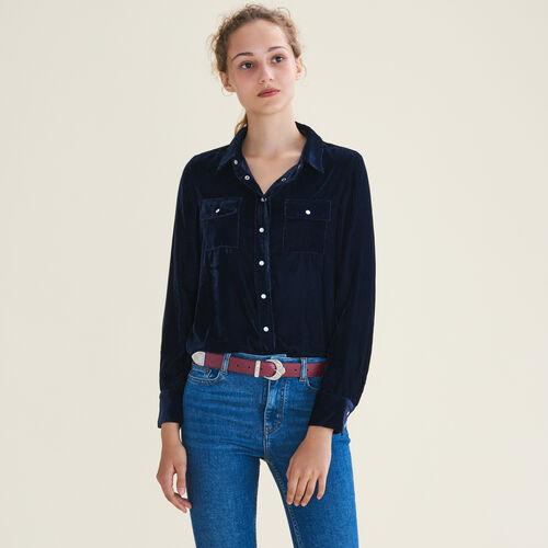 Hemd aus Velours : Hemden farbe Marineblau
