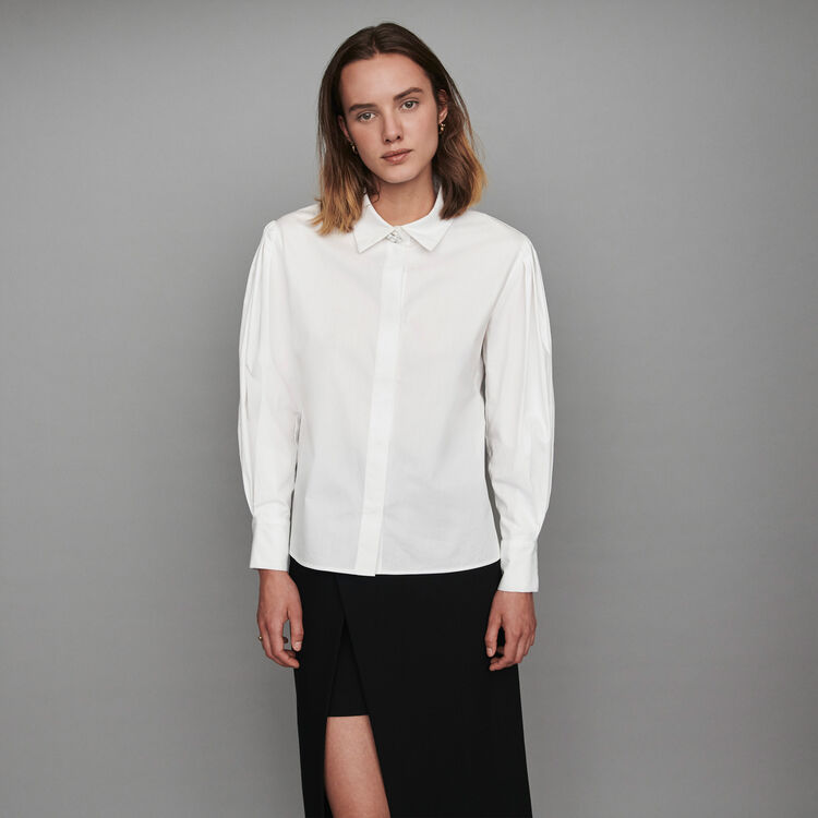 Popeline-Bluse mit Zierknöpfen : Tops & Hemden farbe Weiss