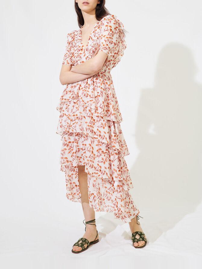 Gemustertes Maxi-Kleid mit Volants - Kleider - MAJE
