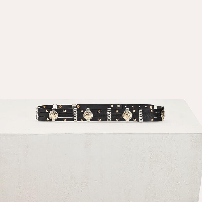 High-Waist-Gürtel aus Leder : Gürtel farbe Schwarz